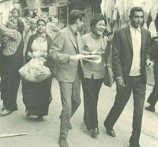 عبدالرحمن الأبنودي مع محمود درويش